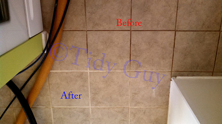 Tiles and grout in the kitchen showing partially dirty and clean condition