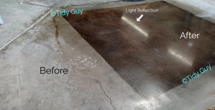 Light reflection from newly stained and polished concrete floor.
