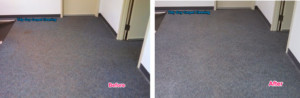 Carpet in a commercial property, on the left showing before and the right after the very low moisture cleaning.